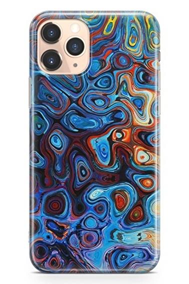 Lopard İphone 11 Pro Kılıf Silikon Arka Kapak Koruyucu Modern Mavi Desenli Full HD Baskılı Renkli